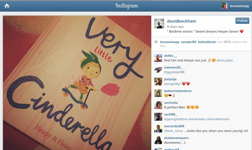 David Beckham Instagram on Very Little Cinderella